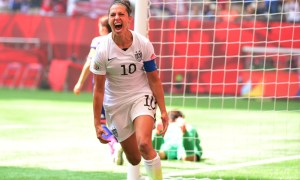 Jul 5, 2015; Vancouver, British Columbia, CAN; United States midfielder Carli Lloyd (10) reacts after scoring a goal against Japan in the first half of the final of the FIFA 2015 Women's World Cup at BC Place Stadium. Mandatory Credit: Anne-Marie Sorvin-USA TODAY Sports